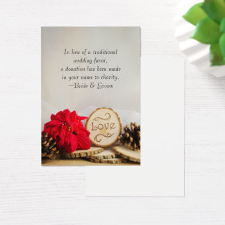 Rustic Red Poinsettia Winter Wedding Charity Favor Business Card