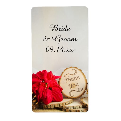 Rustic Red Poinsettia Winter Wedding Favor Tags Label Zazzle