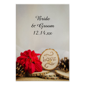 Rustic Red Poinsettia Winter Wedding Poster Print