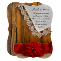 Rustic Red Poinsettia Winter Wedding Save the Date Invitation