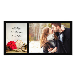 Rustic Red Poinsettia Winter Wedding Thank You Card