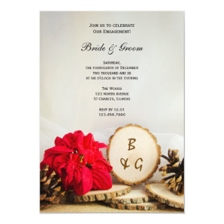Rustic Red Poinsettia Woodland Engagement Party 5x7 Paper Invitation Card
