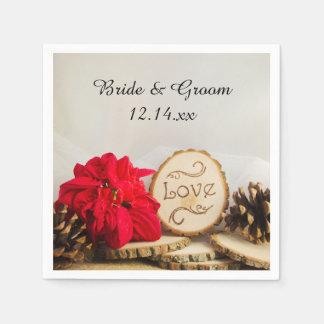 Rustic Red Poinsettia Woodland Winter Wedding Paper Napkin