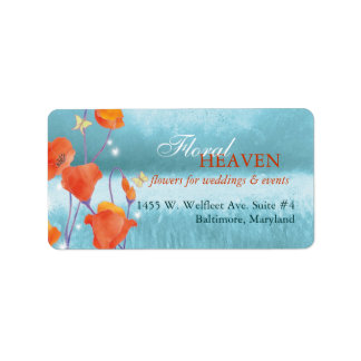 Rustic Red Poppy Business Address Label