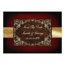 rustic red regal save the date announcement