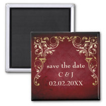 rustic red regal save the date magnets