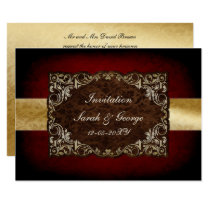 rustic red regal wedding Invitation cards