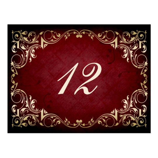 rustic red regal winter wedding table seating card