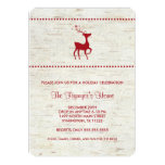 Rustic Red Reindeer Christmas Party Invites