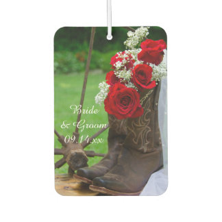 Rustic Red Roses and Cowboy Boots Country Wedding Car Air Freshener