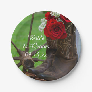 Rustic Red Roses and Cowboy Boots Country Wedding Paper Plate