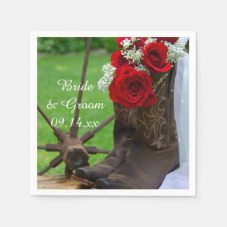 Rustic Red Roses and Cowboy Boots Western Wedding Paper Napkin