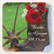 Rustic Red Roses and Cowboy Boots Western Wedding Square Paper Coaster