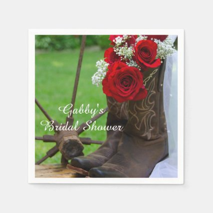 Rustic Red Roses Country Bridal Shower Disposable Paper Napkins