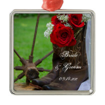 Rustic Red Roses Country Western Wedding Metal Ornament