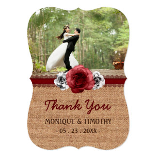 Rustic Red Roses Ornate Edges Wedding Thank You Card