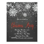 Rustic Red Snowflake Chalkboard Christmas Party Custom Invitations