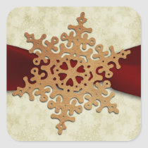 rustic red snowflake envelope seal