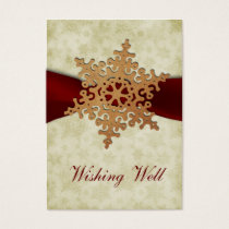 rustic red snowflake wishing well cards
