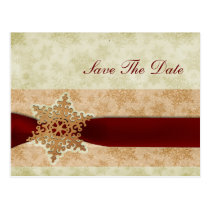 rustic red snowflakes save the date postcard