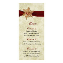 rustic red snowflakes winter wedding menu