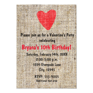 Rustic Red Stamped Heart Burlap Valentine Party Invitation