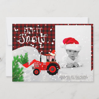 Rustic Red Tractor PHOTO Christmas Buffalo Plaid Card