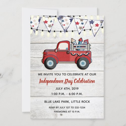 Rustic Red Truck Fireworks 4th of July Invitation