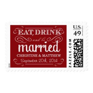 Rustic Red Vintage Wedding Postage