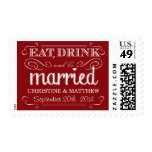 Rustic Red Vintage Wedding Postage