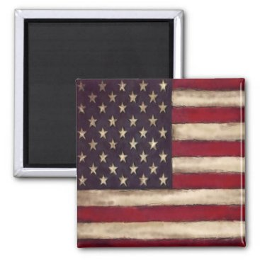 Rustic Red, White and Blue American Flag Magnet