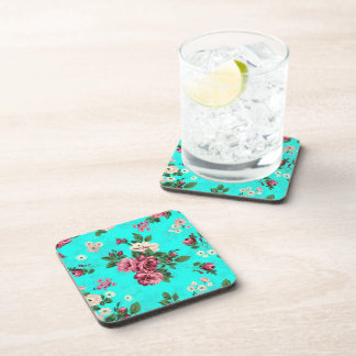 Rustic Red & White Roses Blue-Green Background Coaster