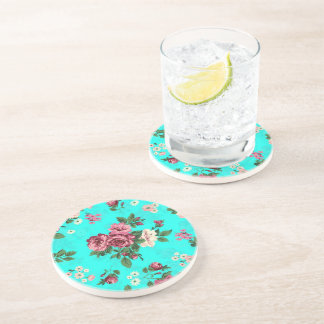 Rustic Red & White Roses Blue-Green Background Sandstone Coaster