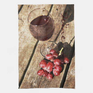 Rustic red wine glass kitchen towel