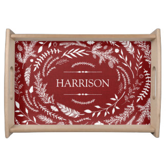 Rustic Red Winter Monogram Serving Tray