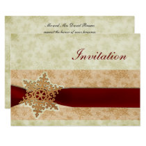 rustic red winter wedding Invitation cards