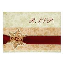 rustic red winter wedding rsvp standard 3.5 x 5 card