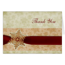 rustic red winter wedding Thank You Card