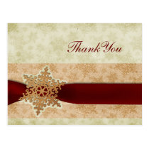 rustic red winter wedding Thank You Postcard