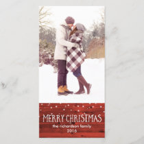 Rustic Red Wood in Snow | Merry Christmas Holiday Card