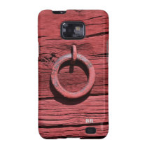 Rustic Red Wood Metal Ring Samsung Galaxy S2 Case at Zazzle