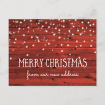 Rustic Red Wood | New Address at Christmas Holiday Postcard