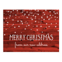 Rustic Red Wood | New Address at Christmas Postcard