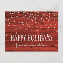Rustic Red Wood | New Address at the Holidays Holiday Postcard