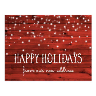 Rustic Red Wood | New Address at the Holidays Postcard