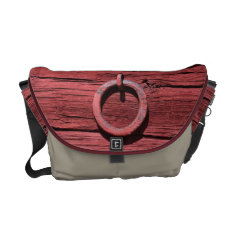 Rustic Red Wood With Metal Ring Medium Messenger Messenger Bag at Zazzle
