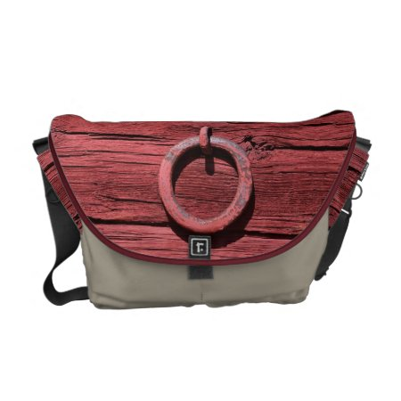 Rustic Red Wood With Metal Ring Medium Messenger Messenger Bag