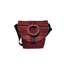 Rustic Red Wood With Metal Ring Mini Messenger Messenger Bag at Zazzle