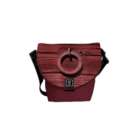 Rustic Red Wood With Metal Ring Mini Messenger Messenger Bag