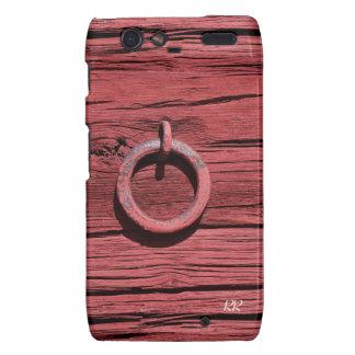 Rustic Red Wood With Metal Ring RAZR Case Motorola Droid RAZR Cover